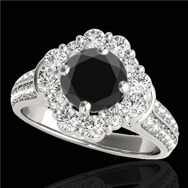 2.16 ctw Certified VS Black Diamond Solitaire Halo Ring 10k White Gold - REF-84G3W