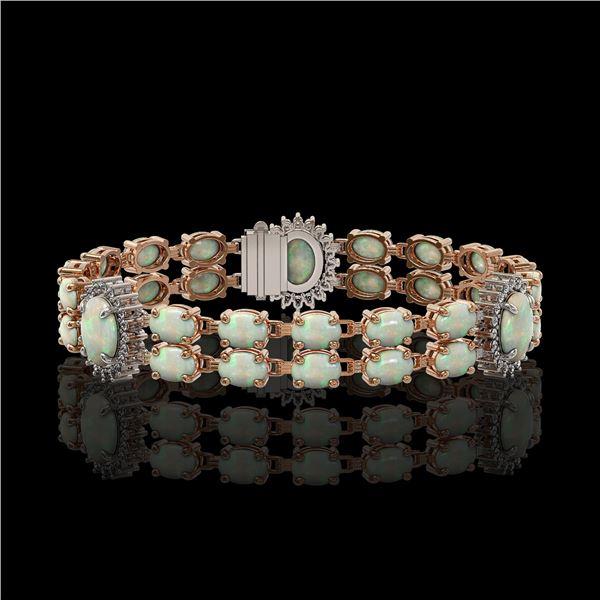 14.39 ctw Opal & Diamond Bracelet 14K Rose Gold - REF-254W4H