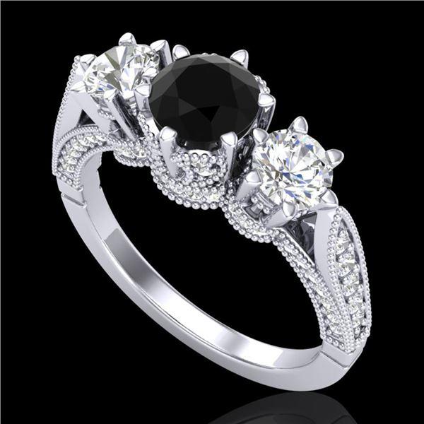 2.18 ctw Fancy Black Diamond Art Deco 3 Stone Ring 18k White Gold - REF-200K2Y