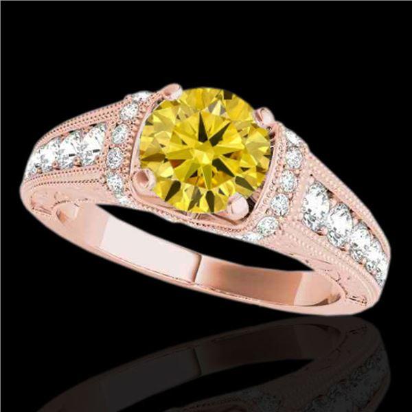 1.75 ctw Certified SI Intense Yellow Diamond Antique Ring 10k Rose Gold - REF-245K5Y