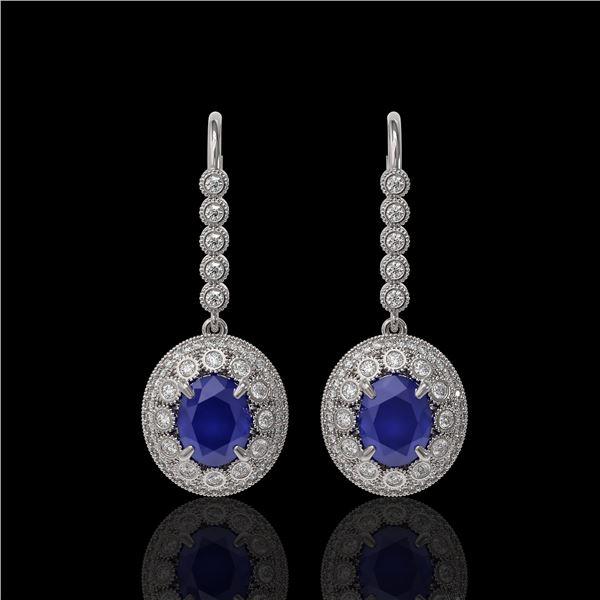 9.25 ctw Certified Sapphire & Diamond Victorian Earrings 14K White Gold - REF-243N5F