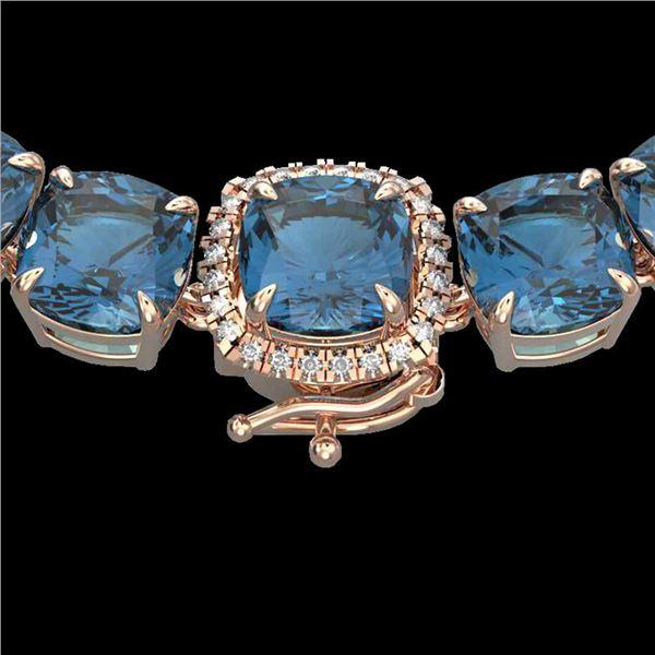 87 ctw London Blue Topaz & Diamond Micro Necklace 14k Rose Gold - REF-317R6K