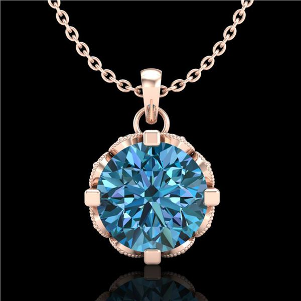 1.5 ctw Fancy Intense Blue Diamond Art Deco Necklace 18k Rose Gold - REF-172A8N