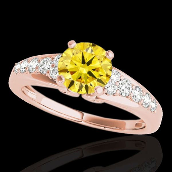 1.40 ctw Certified SI/I Fancy Intense Yellow Diamond Ring 10k Rose Gold - REF-190F9M