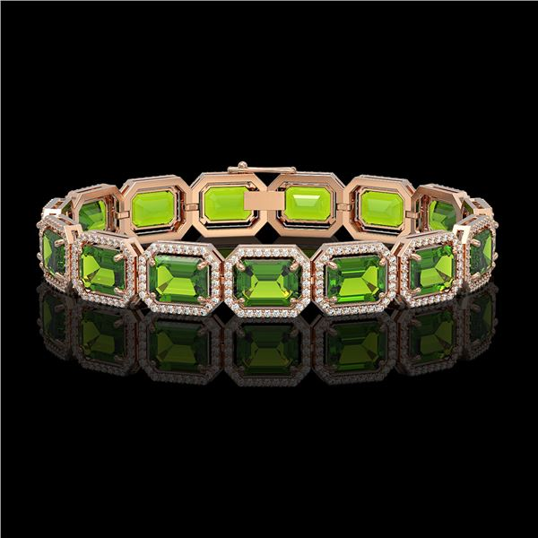 33.37 ctw Peridot & Diamond Micro Pave Halo Bracelet 10k Rose Gold - REF-405Y5X