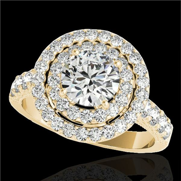 2.25 ctw Certified Diamond Solitaire Halo Ring 10k Yellow Gold - REF-218F2M