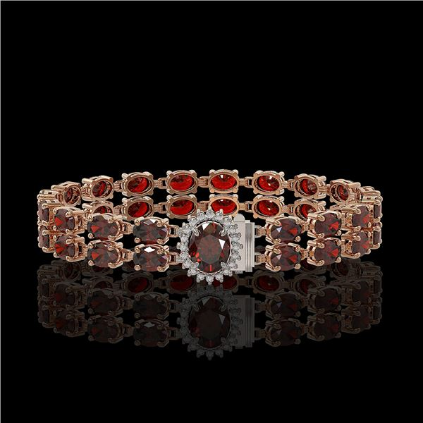 28.52 ctw Garnet & Diamond Bracelet 14K Rose Gold - REF-218F2M