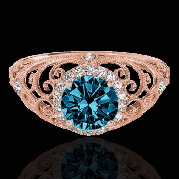 1.22 ctw SI Certified Fancy Blue Diamond Halo Ring 10k Rose Gold - REF-128Y2X