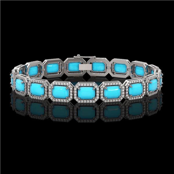 23.66 ctw Turquoise & Diamond Micro Pave Halo Bracelet 10k White Gold - REF-345Y5X