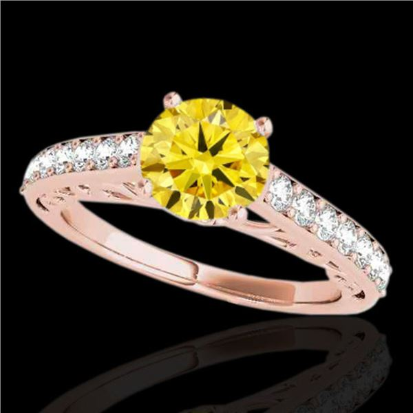 1.4 ctw Certified SI/I Fancy Intense Yellow Diamond Ring 10k Rose Gold - REF-190X9A