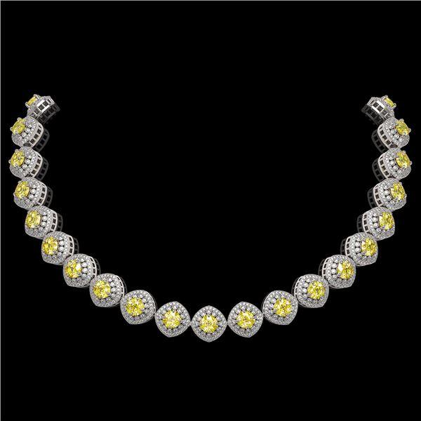 62.37 ctw Canary Citrine & Diamond Victorian Necklace 14K White Gold - REF-1782R9K