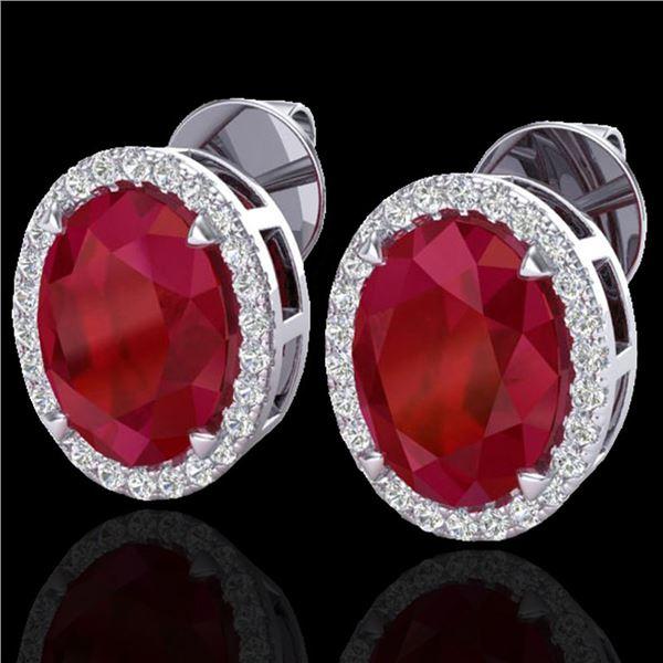 5.50 ctw Ruby & Micro VS/SI Diamond Halo Earrings 18k White Gold - REF-81K8Y