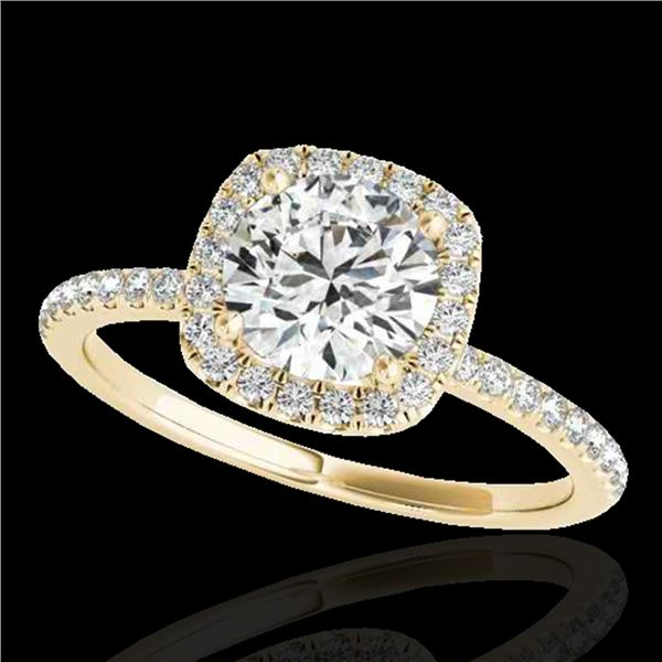 1.25 ctw Certified Diamond Solitaire Halo Ring 10k Yellow Gold - REF-177R3K