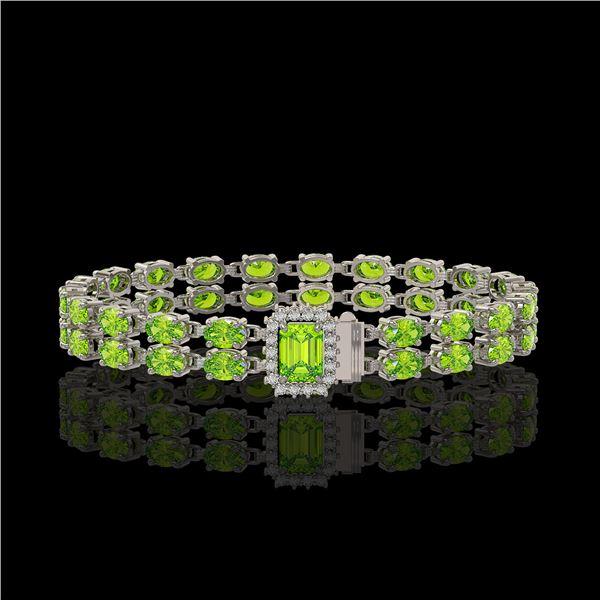 16.92 ctw Peridot & Diamond Bracelet 14K White Gold - REF-236H4R