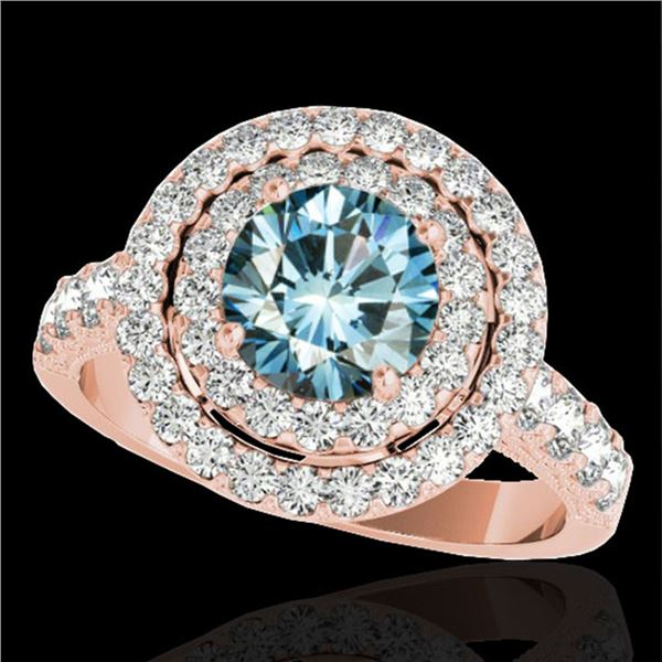 3 ctw SI Certified Blue Diamond Solitaire Halo Ring 10k Rose Gold - REF-248K9Y