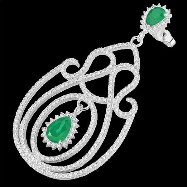 6.40 ctw Emerald & Micro Pave VS/SI Diamond Earrings 14k White Gold - REF-381X8A