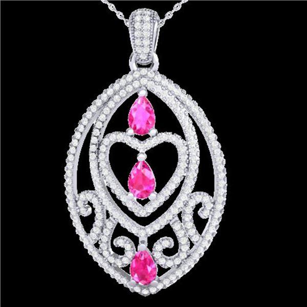 3.50 ctw Pink Sapphire & Micro Diamond Heart Necklace 18k White Gold - REF-218G2W