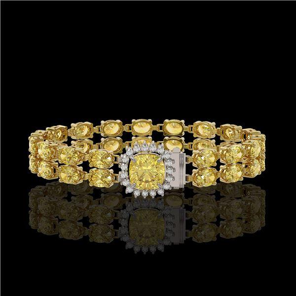 14.21 ctw Citrine & Diamond Bracelet 14K Yellow Gold - REF-178G2W