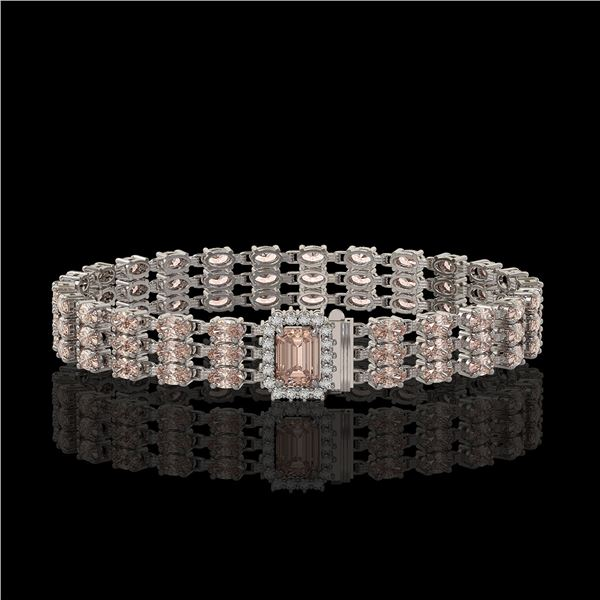 24.91 ctw Morganite & Diamond Bracelet 14K White Gold - REF-354G5W
