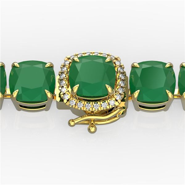 46 ctw Emerald & Micro Pave Diamond Bracelet 14k Yellow Gold - REF-345X5A