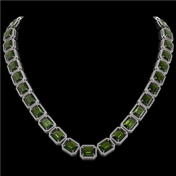 80.65 ctw Tourmaline & Diamond Micro Pave Halo Necklace 10k White Gold - REF-1163M6G