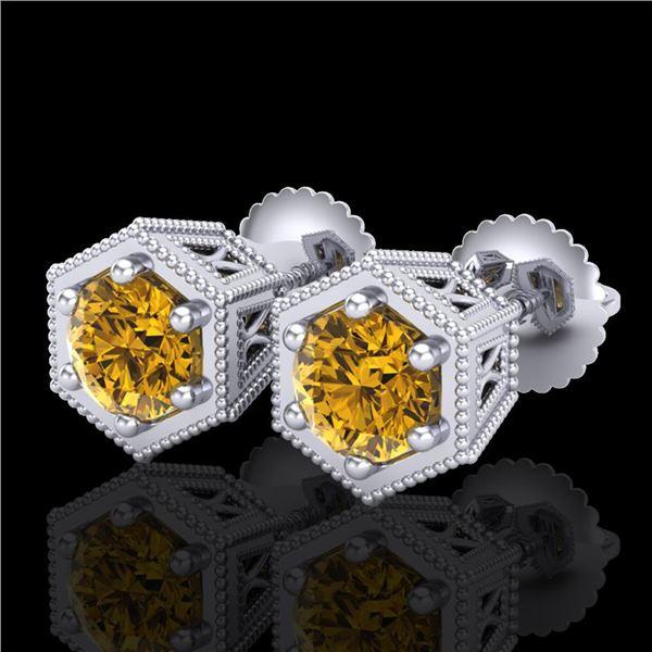 1.15 ctw Intense Fancy Yellow Diamond Art Deco Earrings 18k White Gold - REF-138G2W