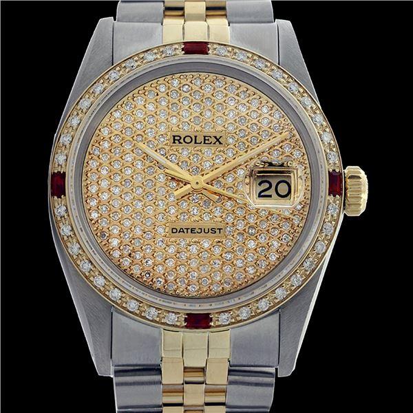 Rolex Men's Two Tone 14K Gold/SS, QuickSet, Diam Pave Dial & Diam/Ruby Bezel