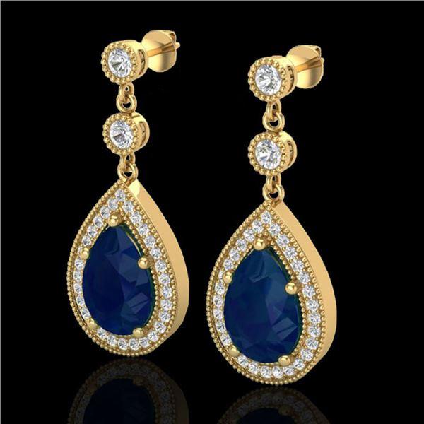6 ctw Sapphire & Micro Pave VS/SI Diamond Earrings 18k Yellow Gold - REF-93R8K