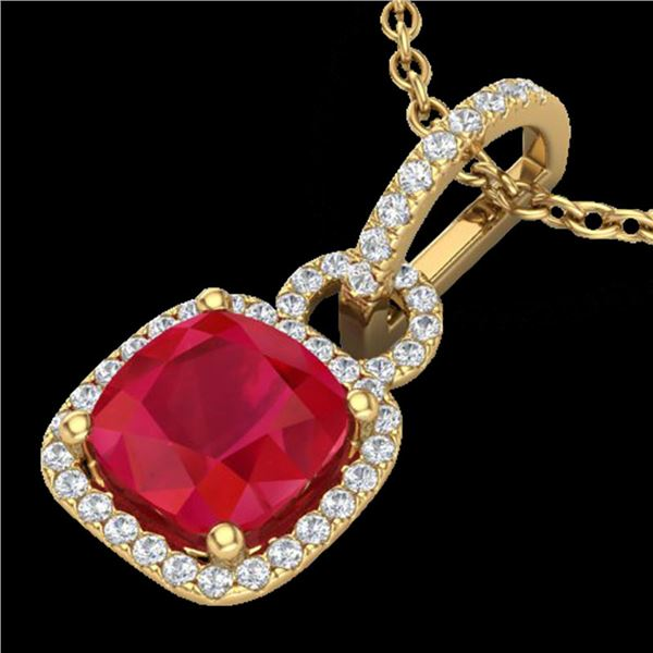 3 ctw Ruby & Micro VS/SI Diamond Certified Necklace 18k Yellow Gold - REF-76Y4X