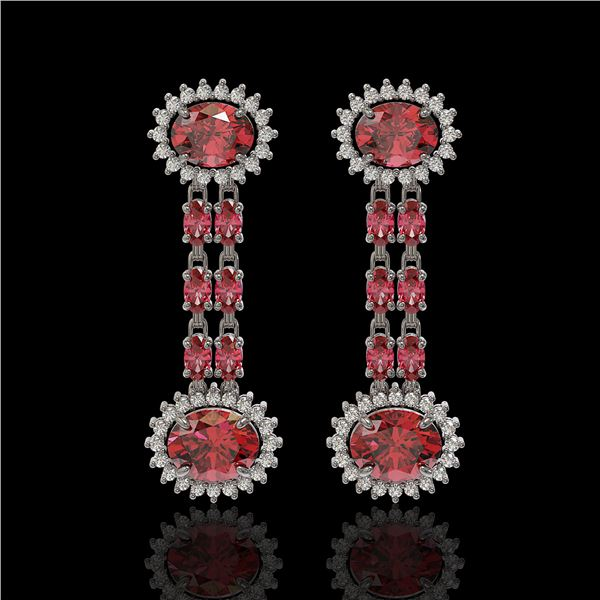 8.69 ctw Tourmaline & Diamond Earrings 14K White Gold - REF-227G3W