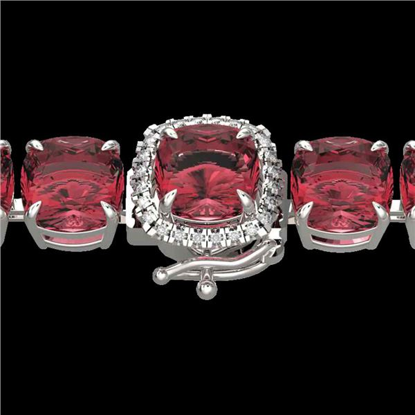 40 ctw Pink Tourmaline & Micro Diamond Bracelet 14k White Gold - REF-476W5H