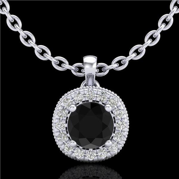1.1 ctw Fancy Black Diamond Art Deco Stud Necklace 18k White Gold - REF-79G3W
