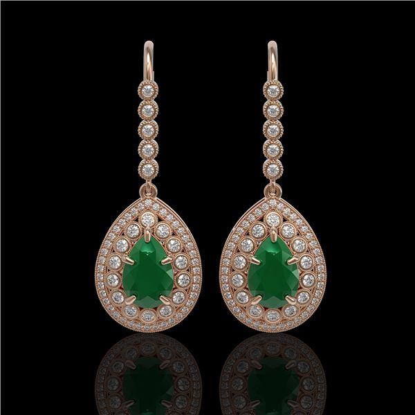 10.15 ctw Certified Emerald & Diamond Victorian Earrings 14K Rose Gold - REF-327K3Y