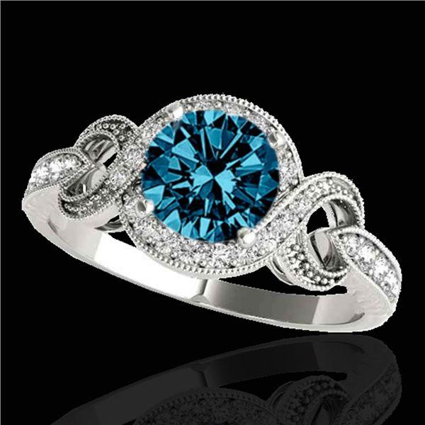 1.33 ctw SI Certified Fancy Blue Diamond Halo Ring 10k White Gold - REF-119K8Y