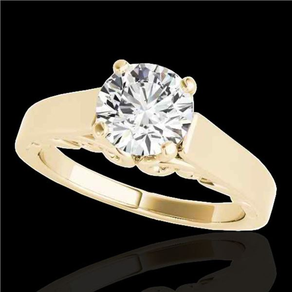 1.25 ctw Certified Diamond Solitaire Ring 10k Yellow Gold - REF-238Y6X