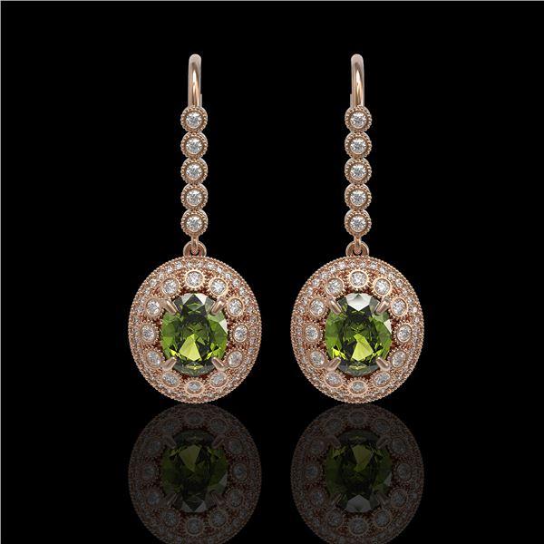 8.45 ctw Tourmaline & Diamond Victorian Earrings 14K Rose Gold - REF-250H8R