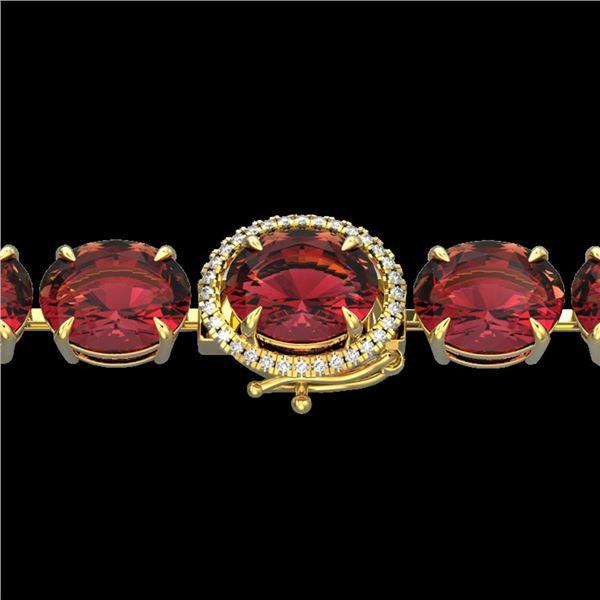 65 ctw Pink Tourmaline & Micro VS/SI Diamond Bracelet 14k Yellow Gold - REF-981A8N