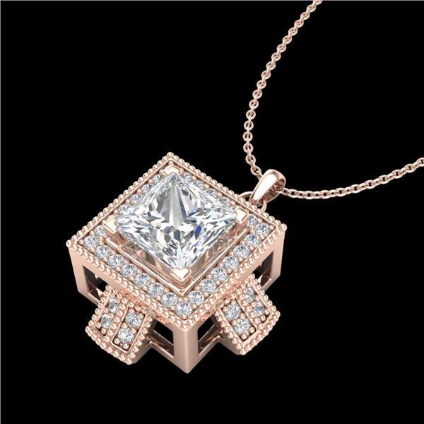 1.46 ctw Princess VS/SI Diamond Micro Pave Necklace 18k Rose Gold - REF-418N2F