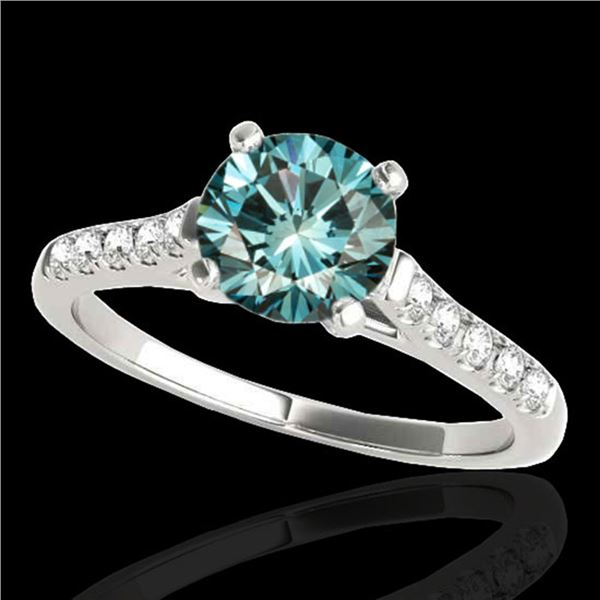 1.45 ctw SI Certified Fancy Blue Diamond Solitaire Ring 10k White Gold - REF-163F6M