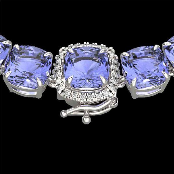 100 ctw Tanzanite & Diamond Micro Eternity Necklace 14k White Gold - REF-1618H2R