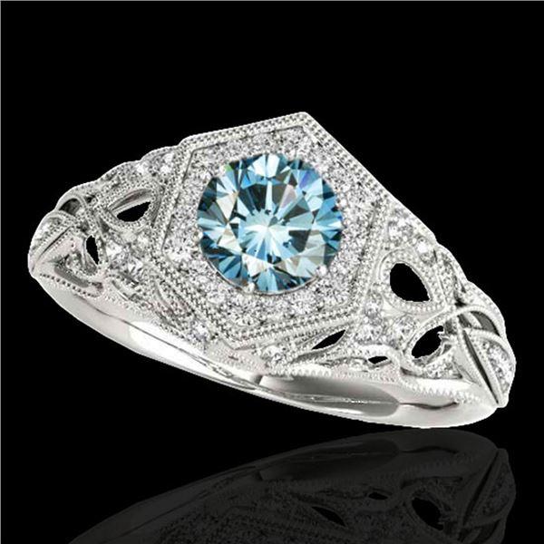 1.4 ctw SI Certified Fancy Blue Diamond Antique Ring 10k White Gold - REF-150G2W