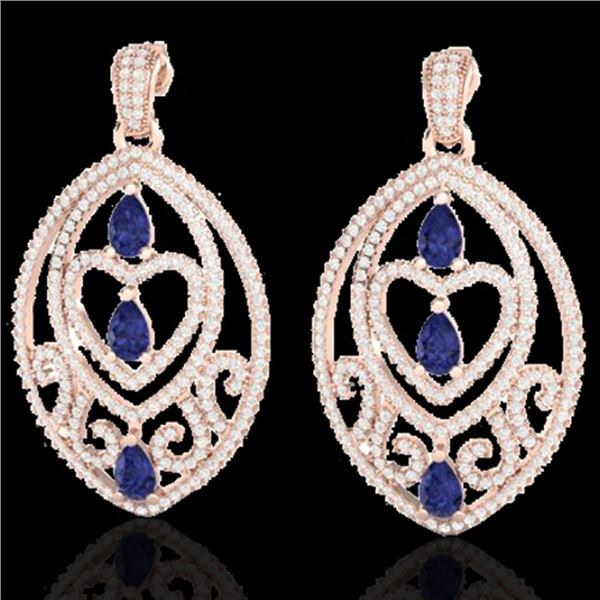 7 ctw Tanzanite & Micro Pave Diamond Heart Earrings 14k Rose Gold - REF-418F2M