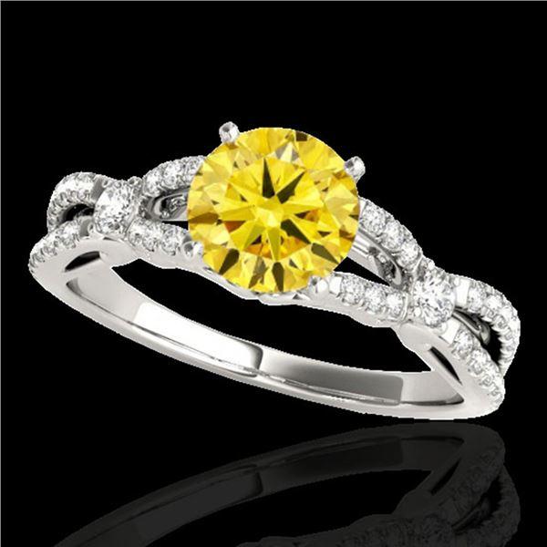 1.35 ctw Certified SI/I Fancy Intense Yellow Diamond Ring 10k White Gold - REF-190H9R
