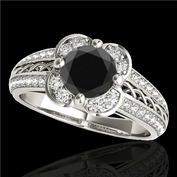 1.5 ctw Certified VS Black Diamond Solitaire Halo Ring 10k White Gold - REF-57R5K