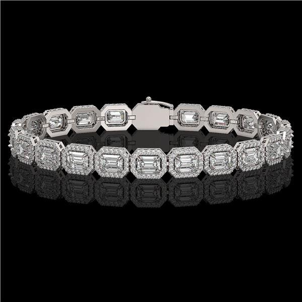 14.57 ctw Emerald Cut Diamond Micro Pave Bracelet 18K White Gold - REF-2284H2R