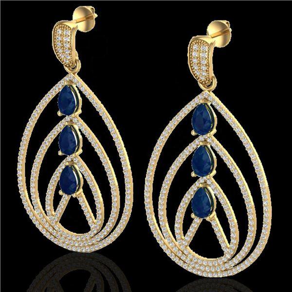 4 ctw Sapphire & Micro Pave VS/SI Diamond Earrings 18k Yellow Gold - REF-307F3M