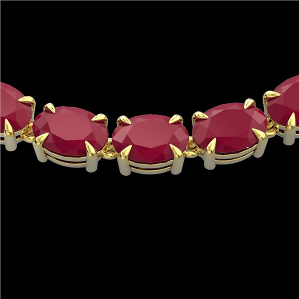 68 ctw Ruby Eternity Designer Necklace 14k Yellow Gold - REF-327A3N