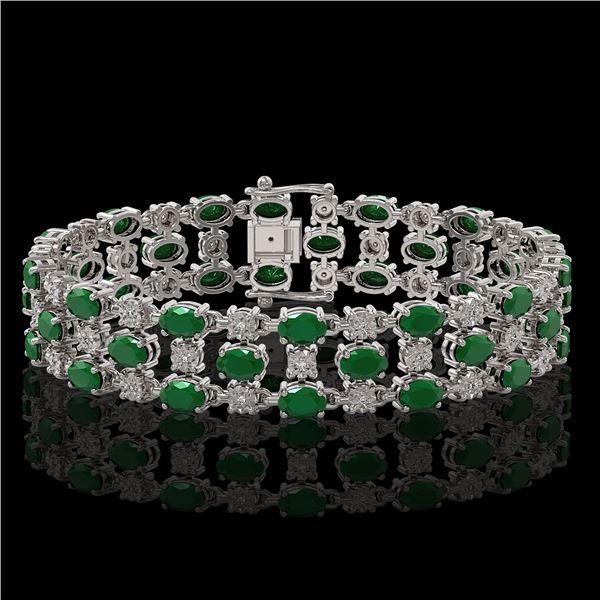 25.85 ctw Emerald & Diamond Bracelet 10K White Gold - REF-300G2W