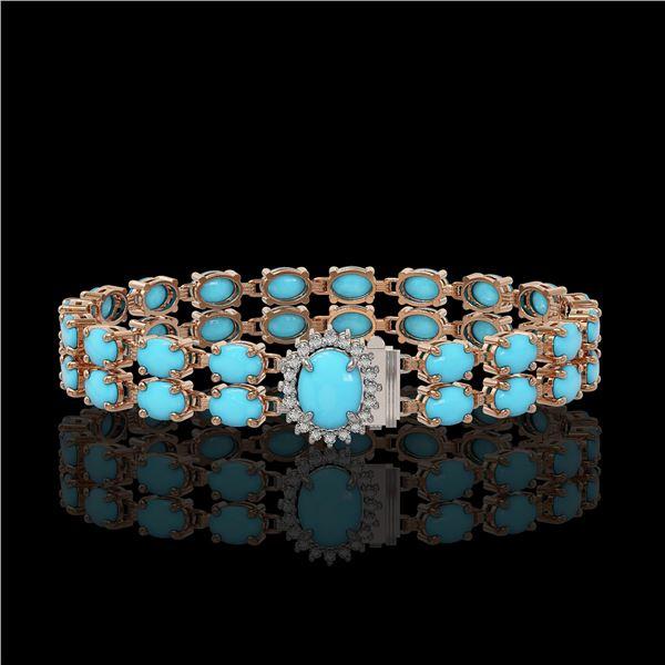 21.22 ctw Turquoise & Diamond Bracelet 14K Rose Gold - REF-218Y2X