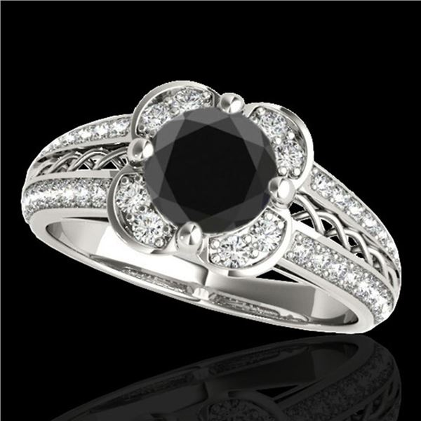 2.05 ctw Certified VS Black Diamond Solitaire Halo Ring 10k White Gold - REF-76X4A